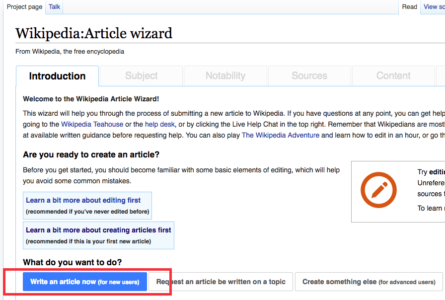 Wikipedia article wizard screen grab