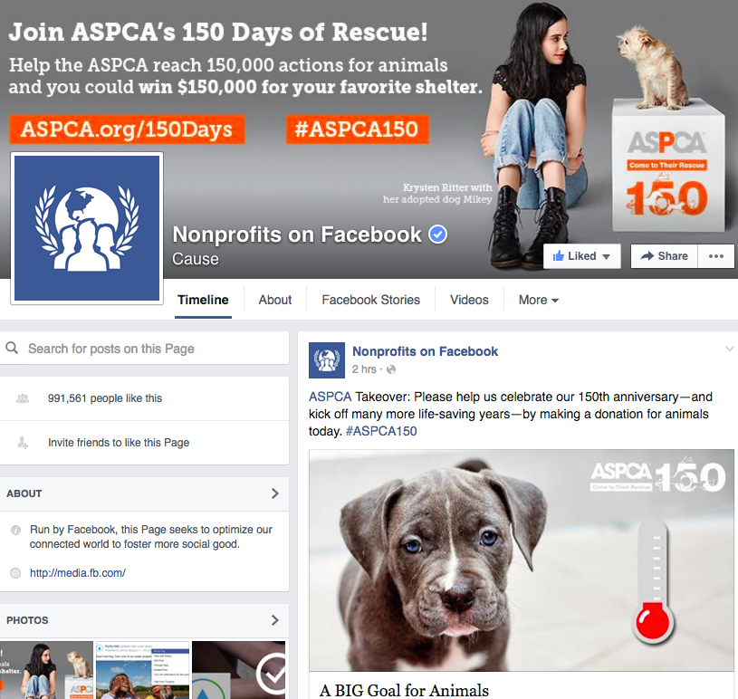 Facebook nonprofits screen shot
