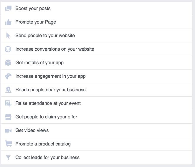 Facebook objectives list