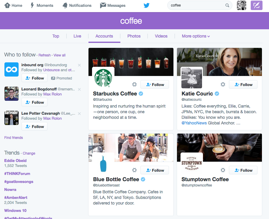 Example of searching Twitter for relevant accounts to follow, using the example of coffee beans.