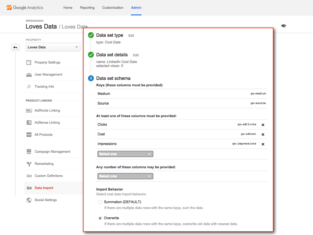 Cost Data Import