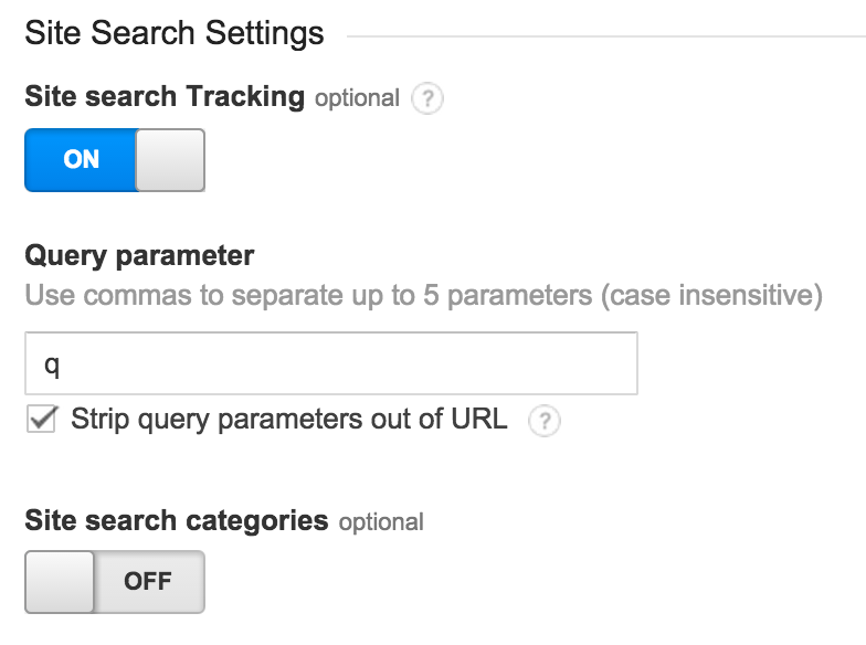 Google Analytics Site Search