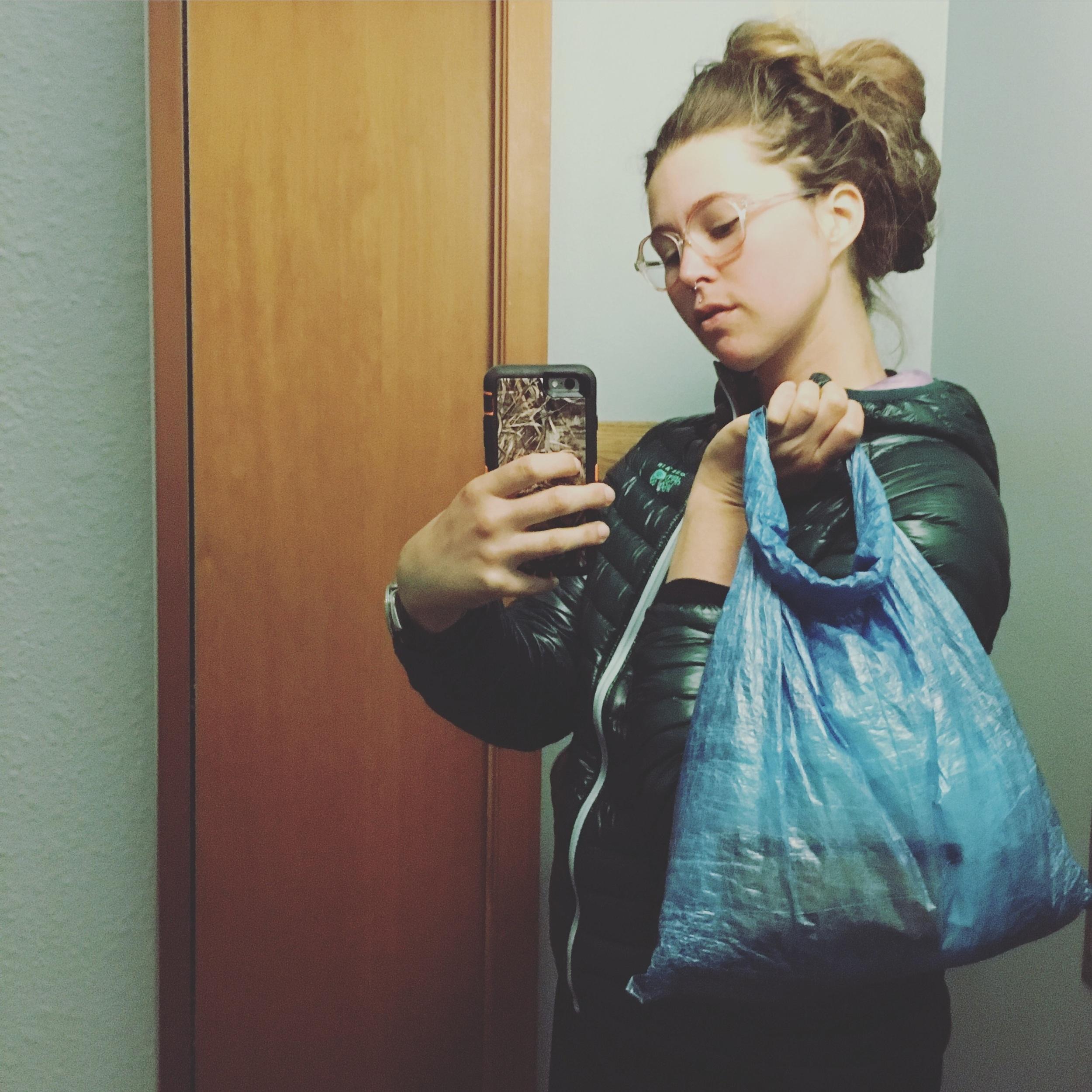 Fashionable cuben purse for town errands.