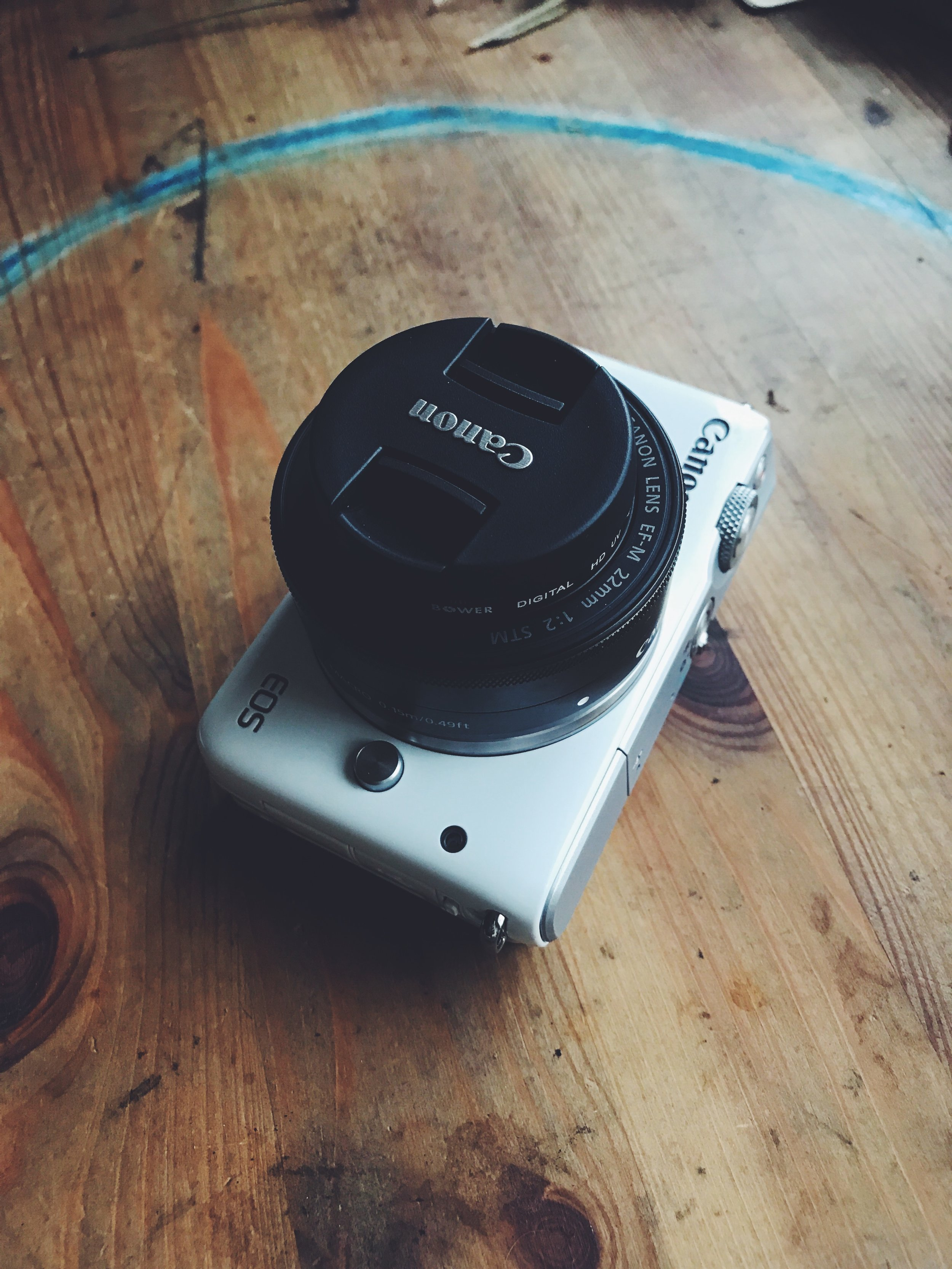 The Canon Eos M10 with a 22mm lens.