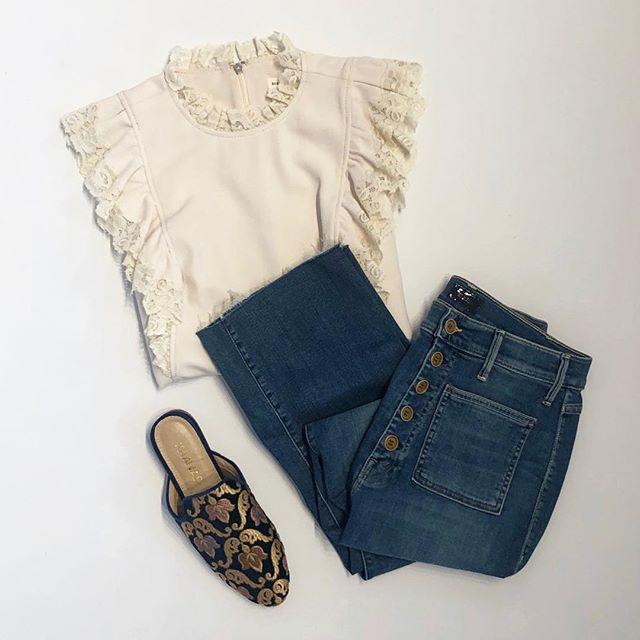 New light weight denim by @motherdenim + top by @rebeccataylornyc + slides by @ kaanas (on sale) 🌸  #spring#wearnowwearlater#fashion#spring#motherdenim#rebeccataylor#wearingwhilden