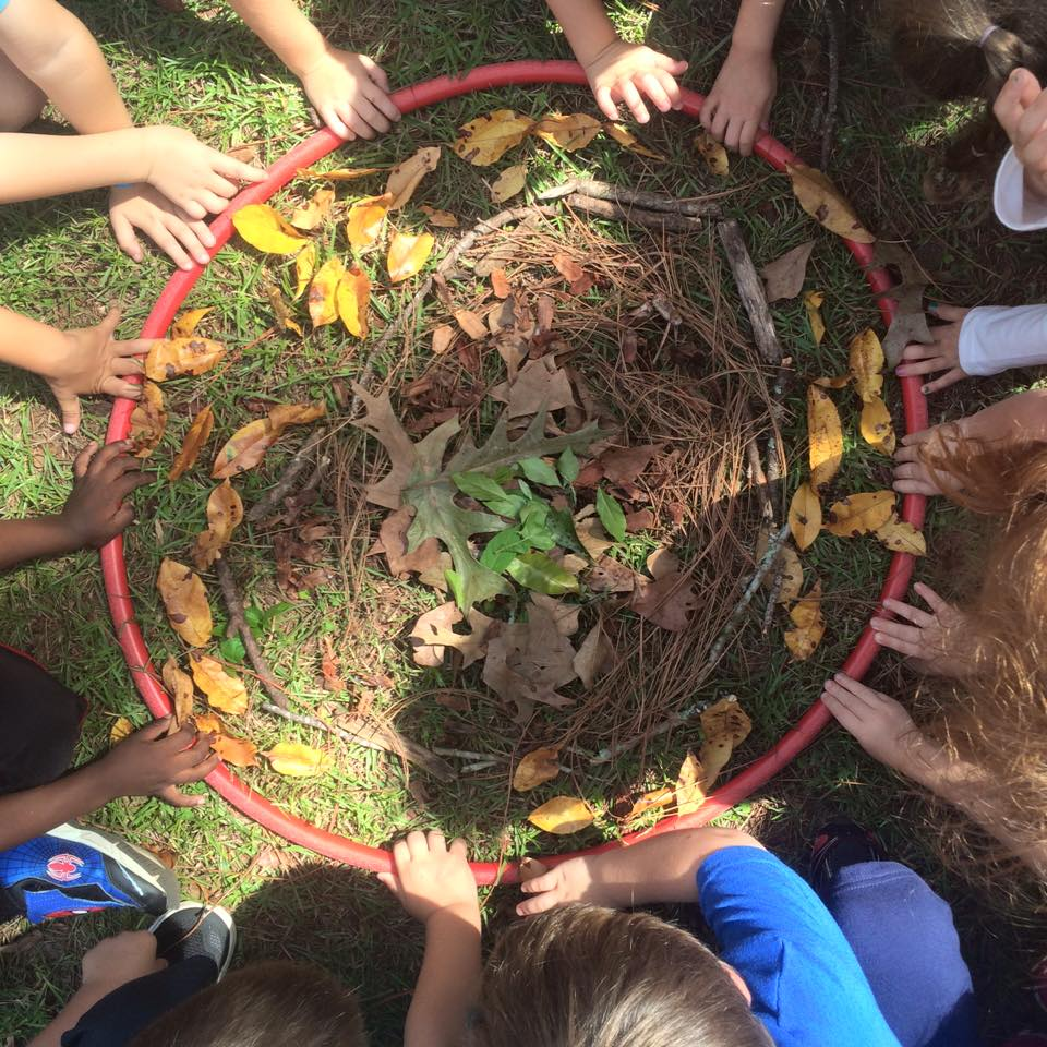 These kindergarteners loved working together on this collaborative mandala!  The hula hoop helps the little ones keep the circular shape.