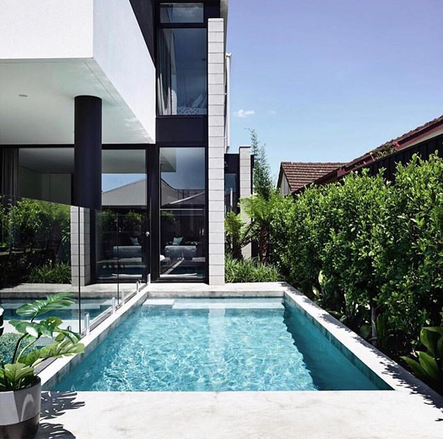 Plunge Pools // ⠀⠀⠀⠀⠀⠀⠀⠀⠀ Want to add a bit of tropical luxury to your next build? 🌴 ⠀⠀⠀⠀⠀⠀⠀⠀⠀ Add a crowd pleaser, AKA - The Plunge Pool. ⠀⠀⠀⠀⠀⠀⠀⠀⠀ Think line of site from the living and kitchen areas to lush dark green foliage and auto filtration and you'll have a slice or paradise in any compact backyard 🏝 ⠀⠀⠀⠀⠀⠀⠀⠀⠀ Here's some inspo for our upcoming duplex. This build will include two plunge pools, one with a spa and water feature 👌🏻 ⠀⠀⠀⠀⠀⠀⠀⠀⠀ Tap for designer details