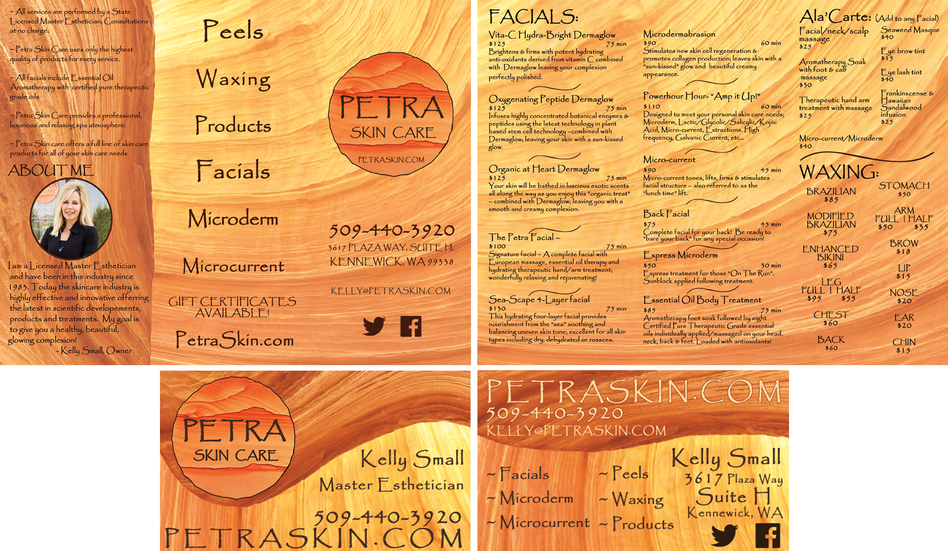 Petra Skincare Brochure and Business Card