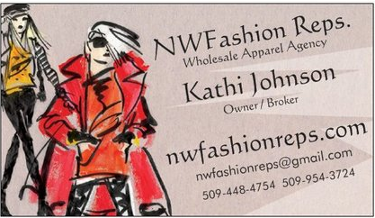 SEATTLE - Pacific Northwest, USKathi JohnsonNW FASHION REPST: (509) 448 - 4754 | F: (509) 448 - 4758kathijohnson123@hotmail.comWashington, Oregon, Idaho & Alaska
