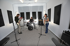 Band practicing in Rehearsal Studio 1