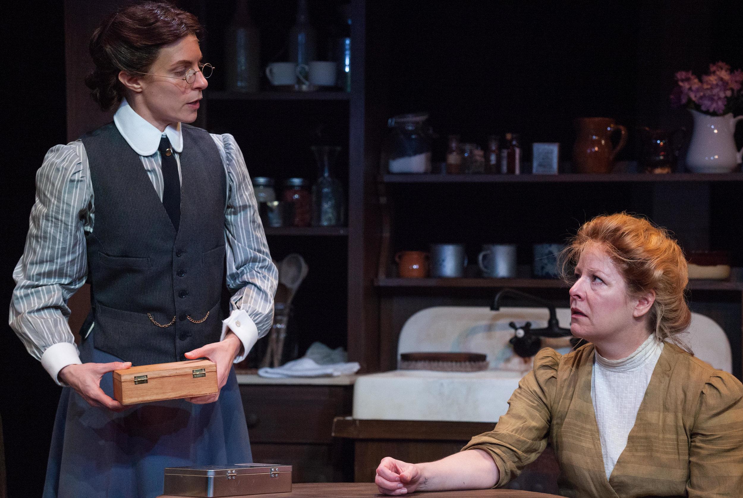 Keri as Dr. Ann Saltzer and Tasha Lawrence as Mary Mallon. Photo by Carolyn Brown.