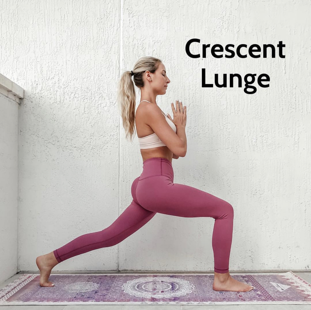 Crescent Lunge x 1 minute on each leg. Make sure to press into the ball of the back foot and gently pulse the front knee for a deeper stretch.