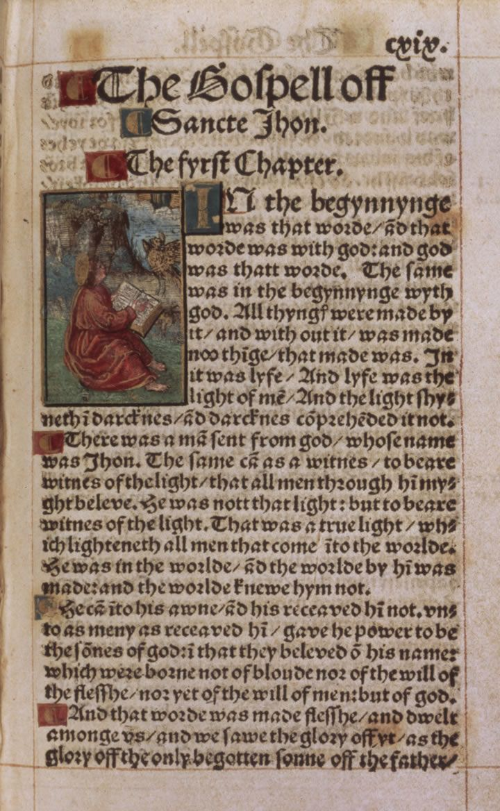 First page of the Gospel of John from the first Bible printed in the English language - the Tyndale Bible (1526). Click to enlarge.