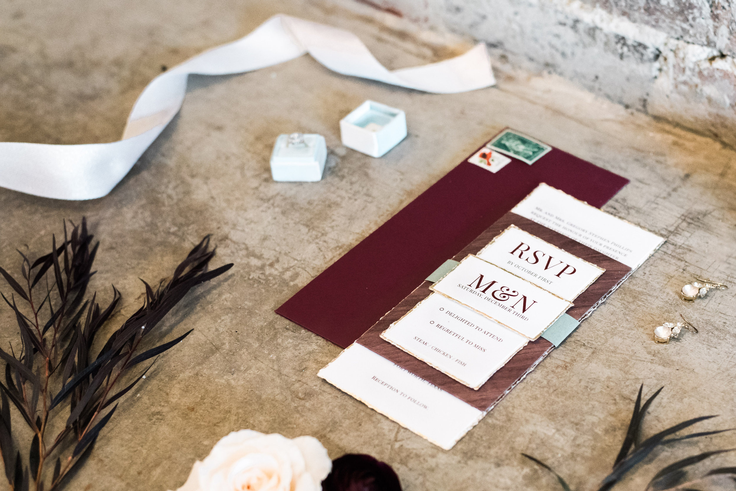 No styling board? No problem! Use. the. floor. if you have to. toss some earrings, some ribbon, deconstruct some florals and have fun with it! when everything is pretty, you can't go wrong! Photo by: Grey door photography