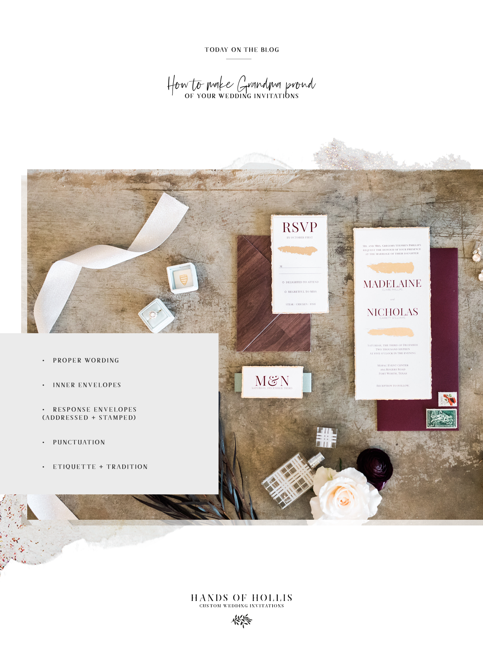 How to make Grandma proud of your wedding invitations with traditional etiquette from Hands of Hollis in Dallas, Texas