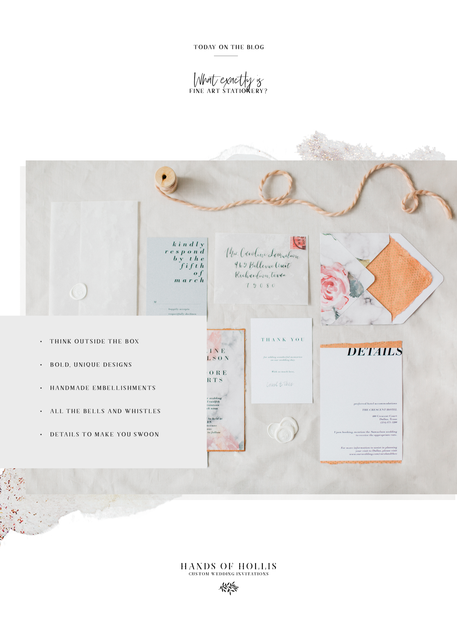 What exactly is fine art stationery and custom wedding invitations from Hands of Hollis in Dallas, Texas