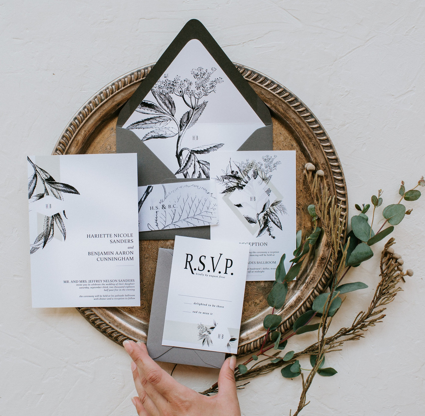 Hands of Hollis - Custom Fine Art Wedding Invitations handmade in Dallas, Texas