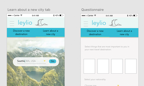Leylio:  Product development, prototyping, research  Conducted quantitative user research to determine market viability for a mobile app for travelers to adjust to new cultures quickly. Developed mobile app prototype in Adobe XD.