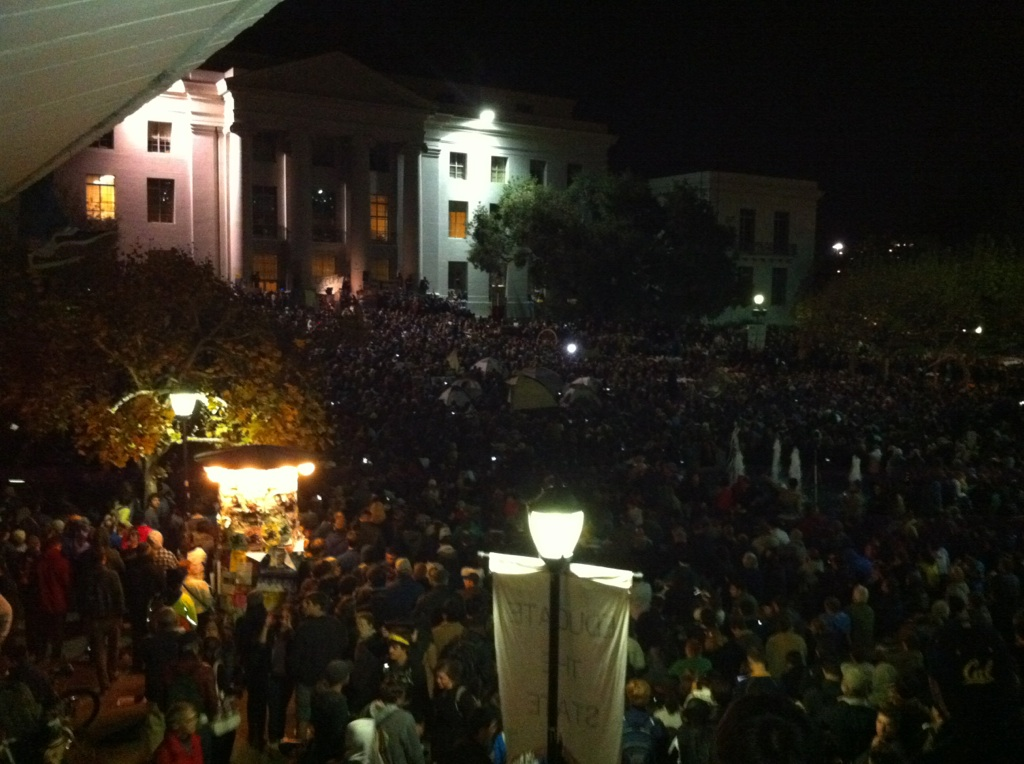 Masses of people are gathered in Sproul Plaza, I don't think I've ever seen it so packed, not even during Obama's inauguration. Only the recipients of a Mario Savio award have spoken so far, but I can't wait for Robert Reich's lecture. So far the atmosphere has been very peaceful and positive, and I don't consider myself much of an activist, but I think this is going to be a really powerful demonstration.     So proud to be a Berkeley grad.