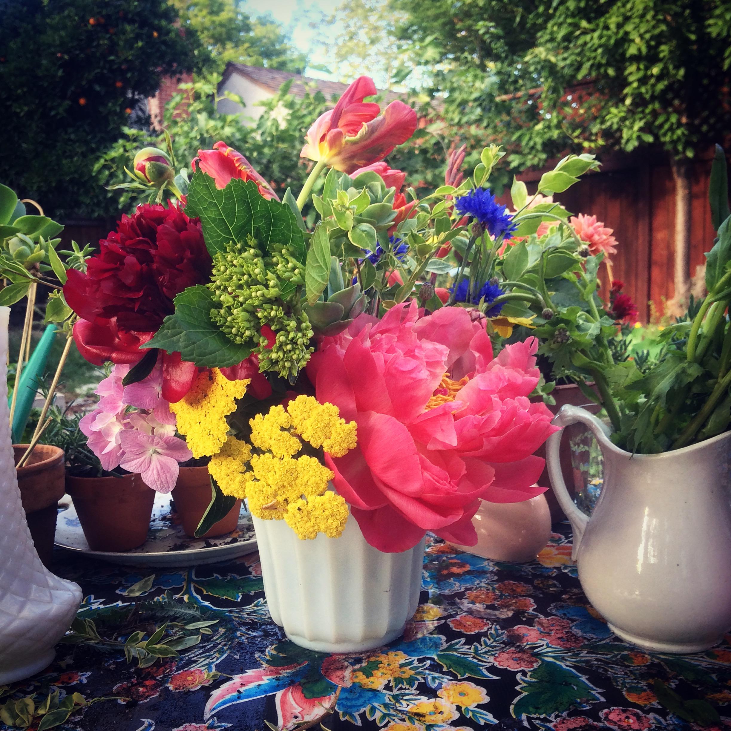 Sampling of the Land Park Tea and Garden Tour centerpiece for tables...