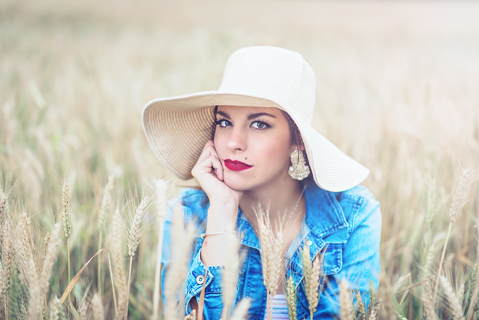 High School Senior Southern Pictures in a Wheat Field - Jean Jacket and Floppy Hat - Boquet Beach portraits