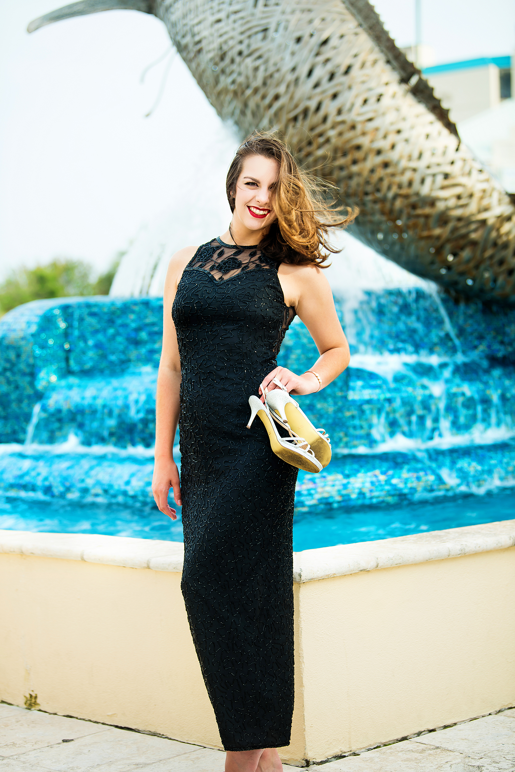 high school senior elegant gown water fountain.jpg