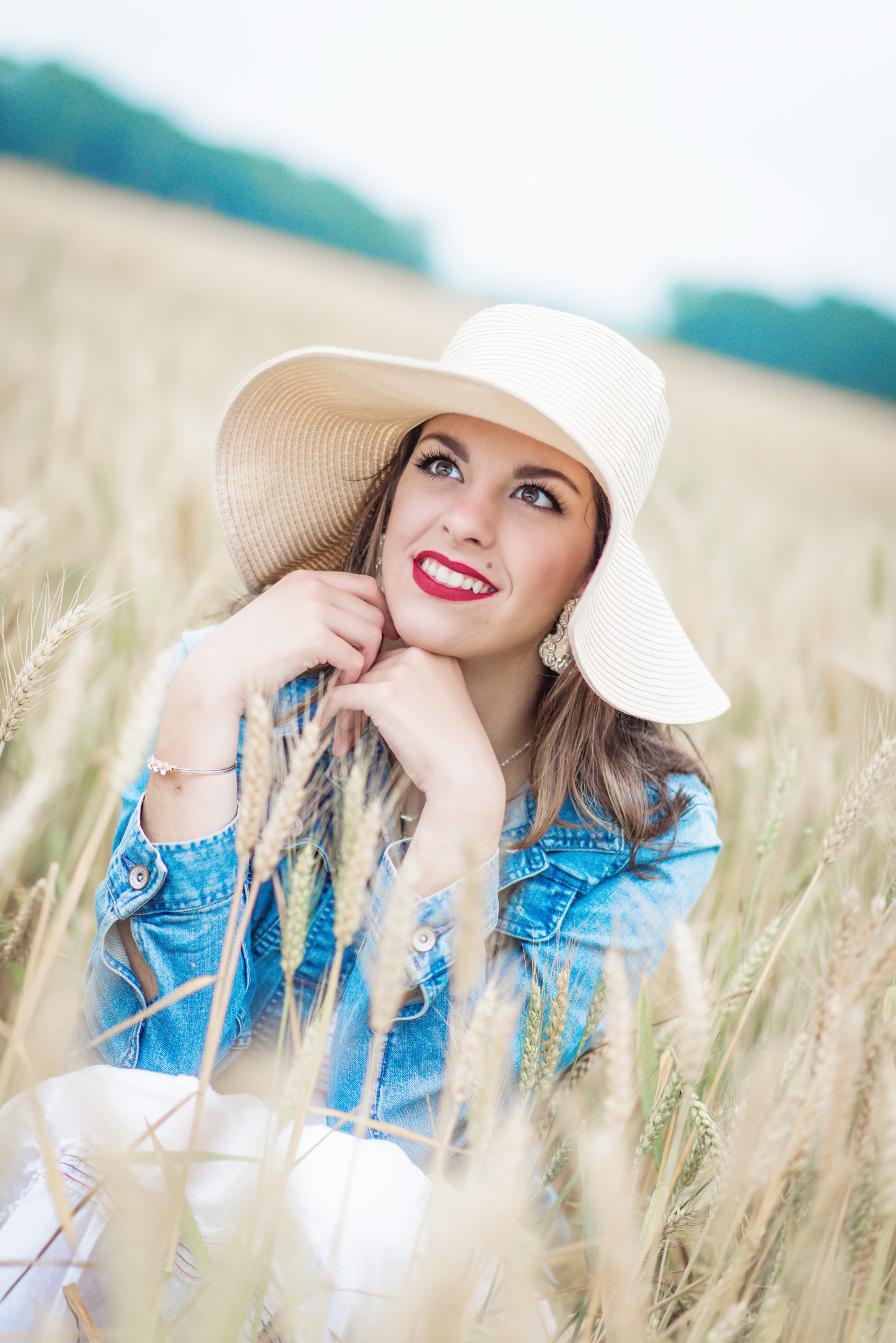 high school senior wheat field close up