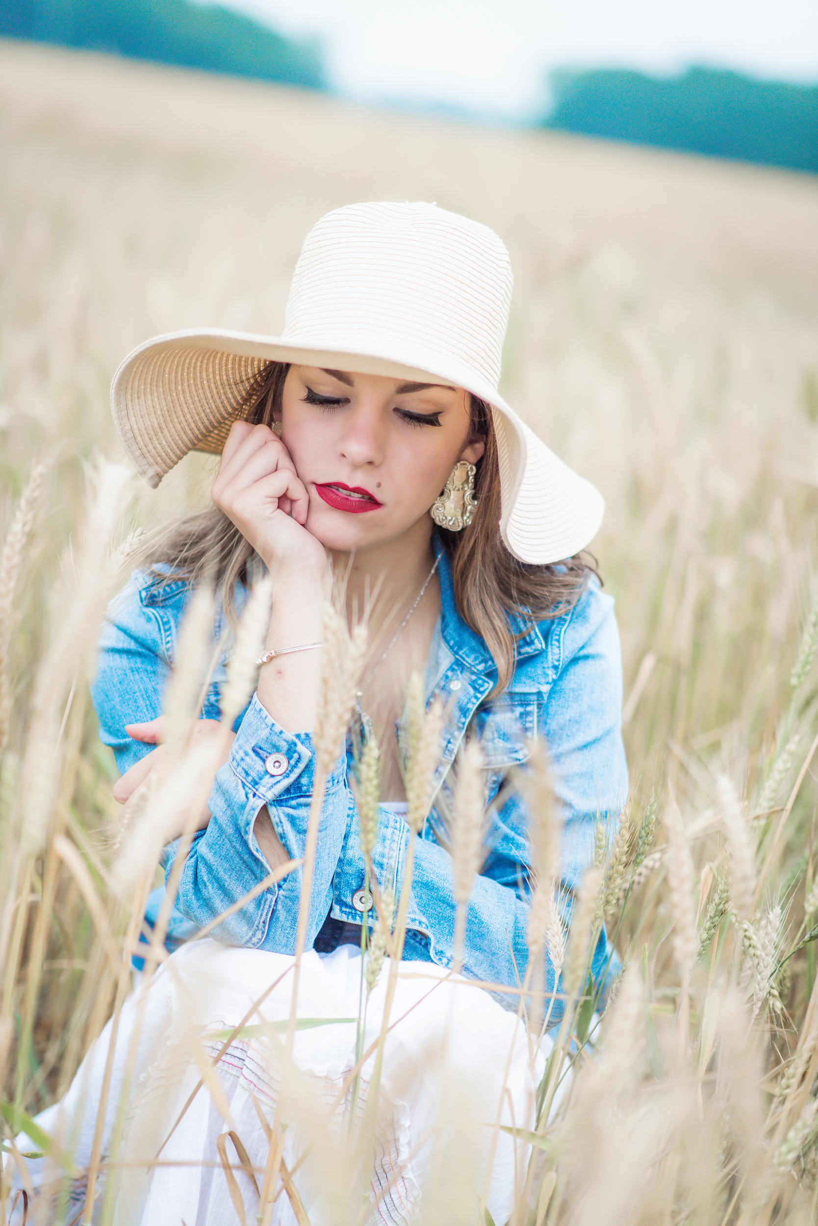 high school senior wheat field close up - boquet beach portraits - silverhill, alabama