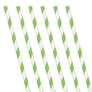 Lime and White stripe straws