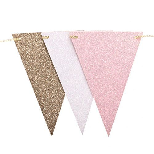 Pink White Gold Flagg Buntting