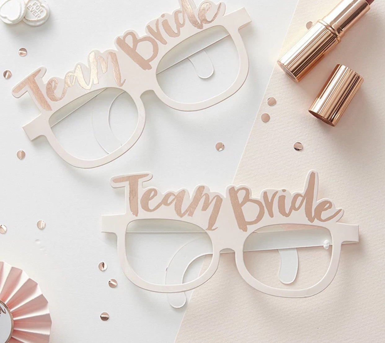 You might also like - Team Bride cardstock glasses in Pink and Rose Gold.