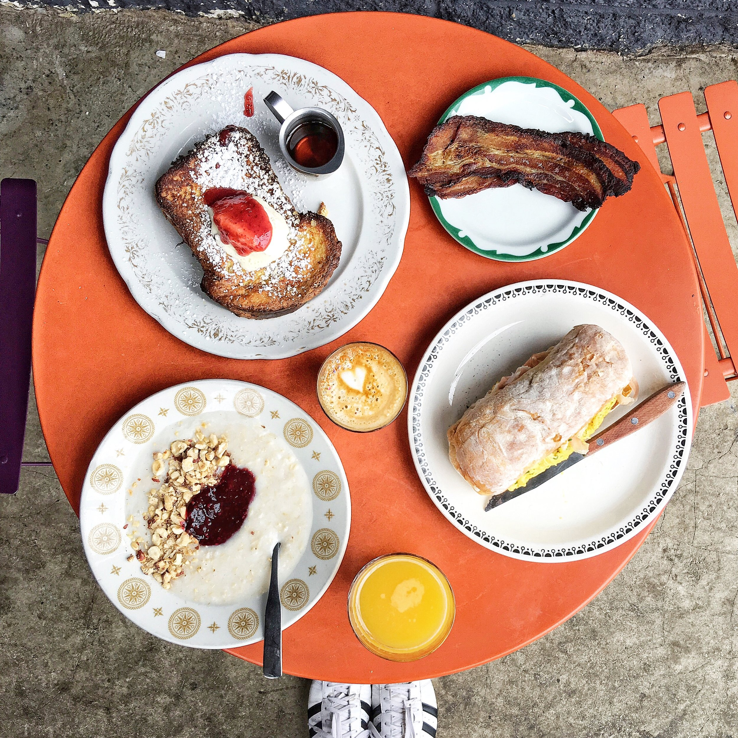 French toast, the Mosca Breakfast Sandwich and Brown Rice Porridge