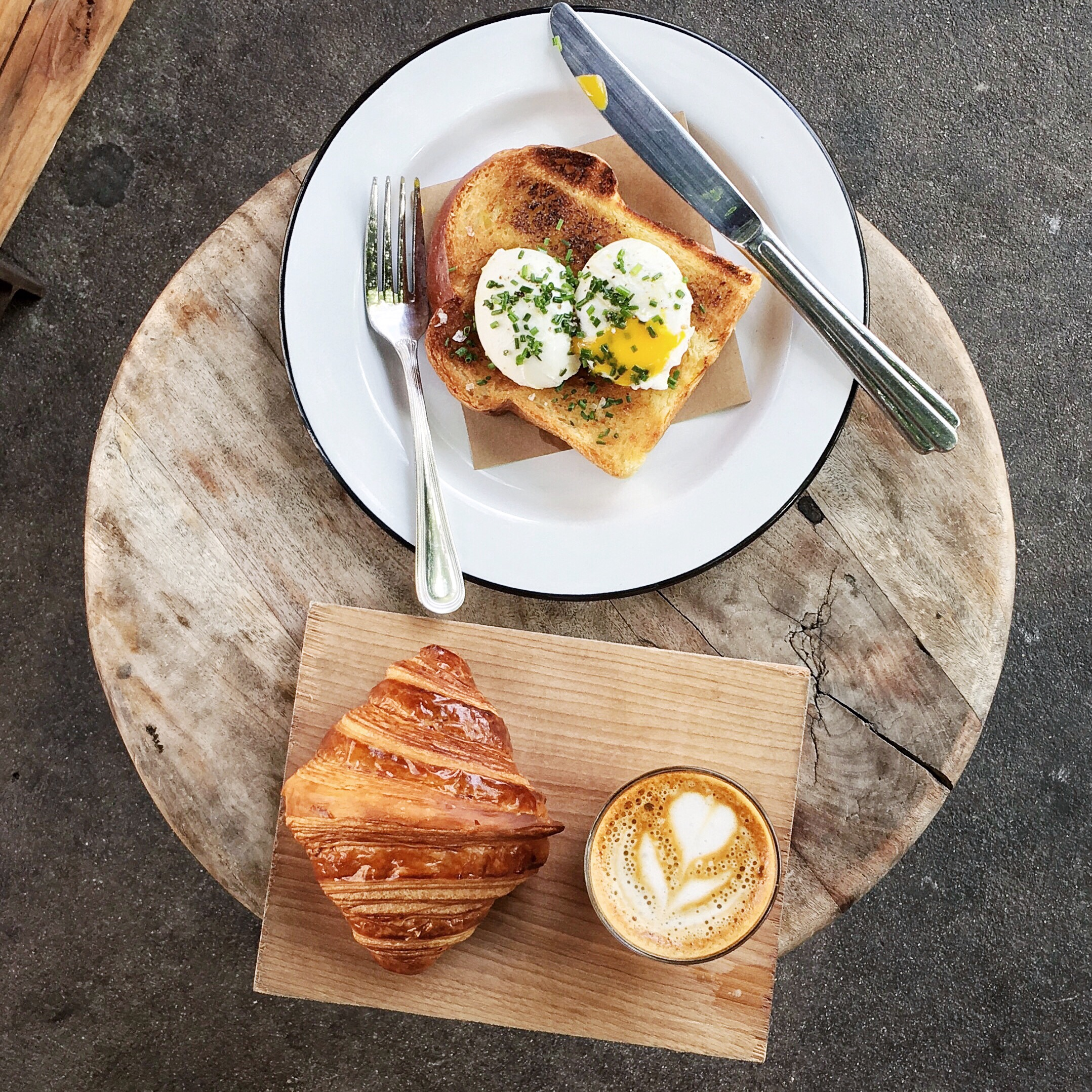 Poached Eggs and Croissant