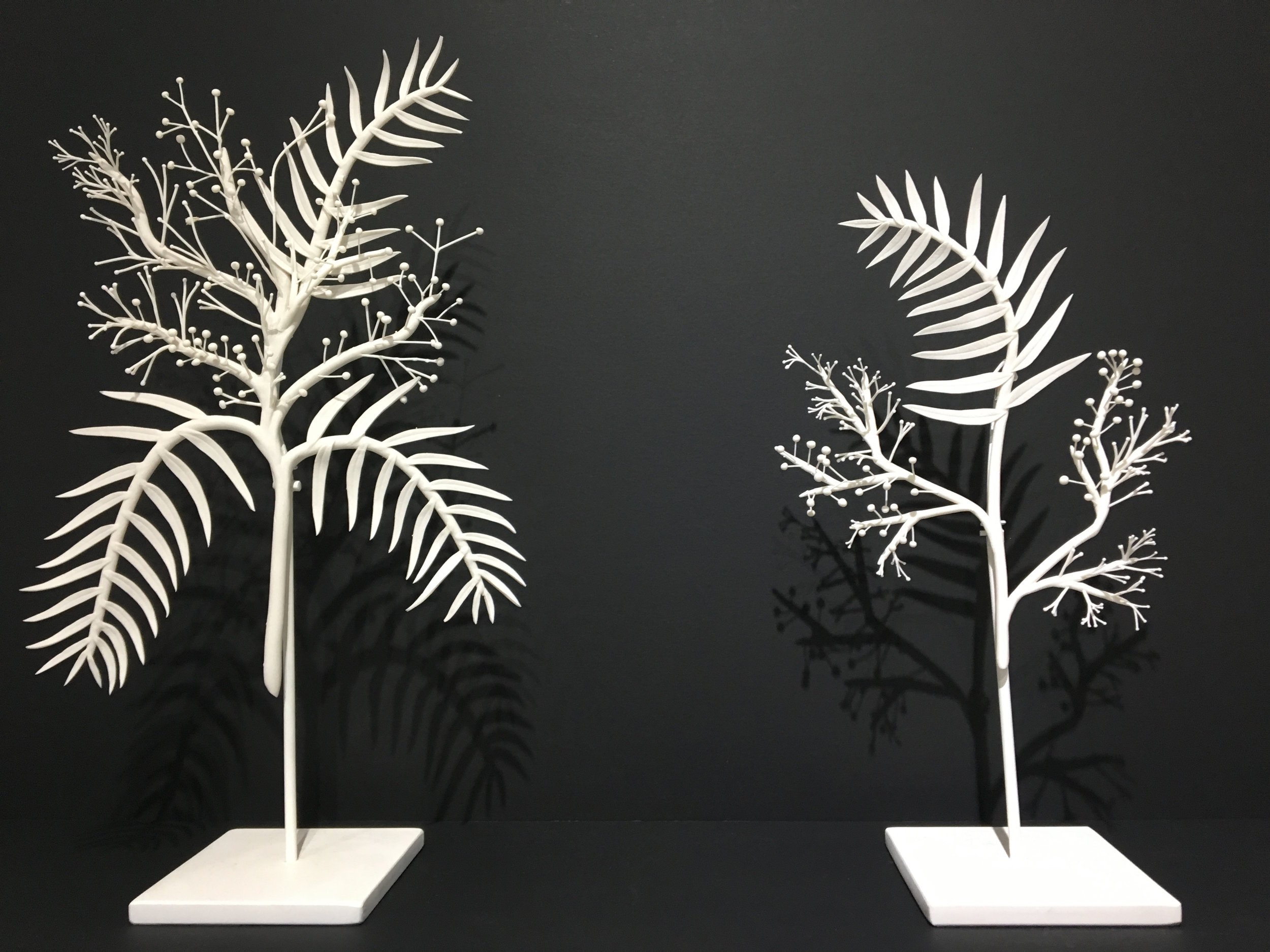 Alice Couttoupes, Pepperina I & II, porcelain, steel stands.
