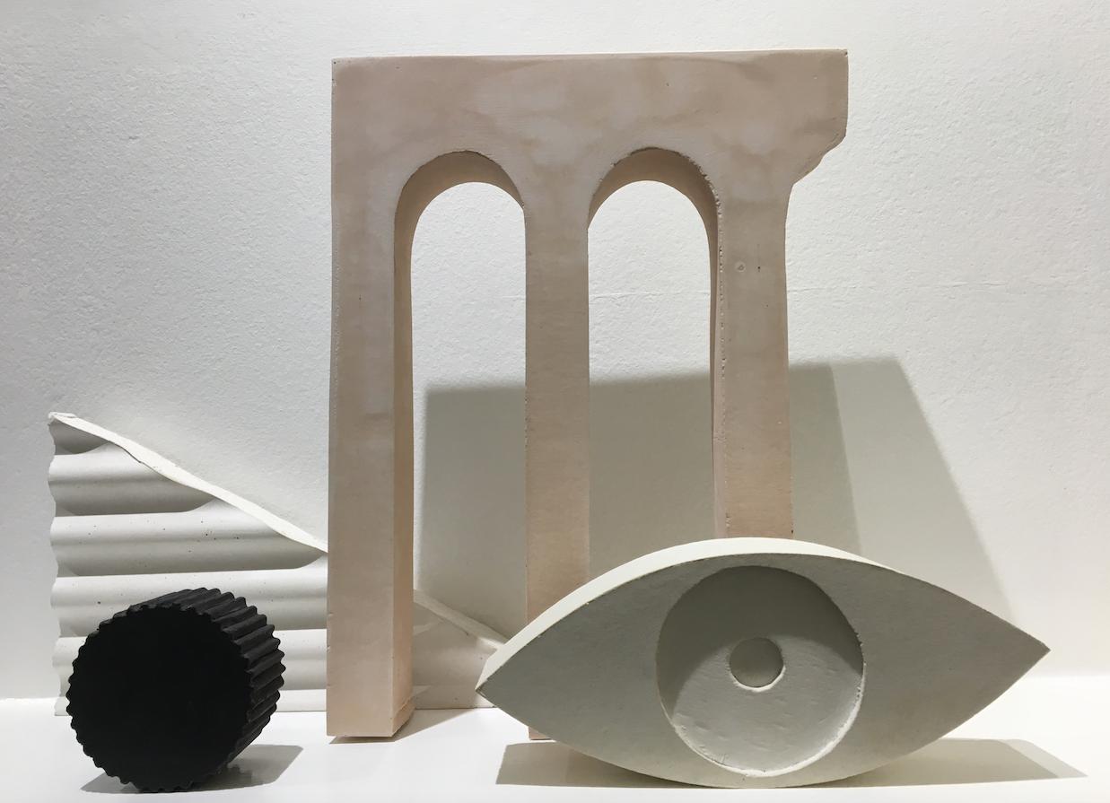 Sean Meilak, Arrangement 1, 2018, plaster and plied pigment.