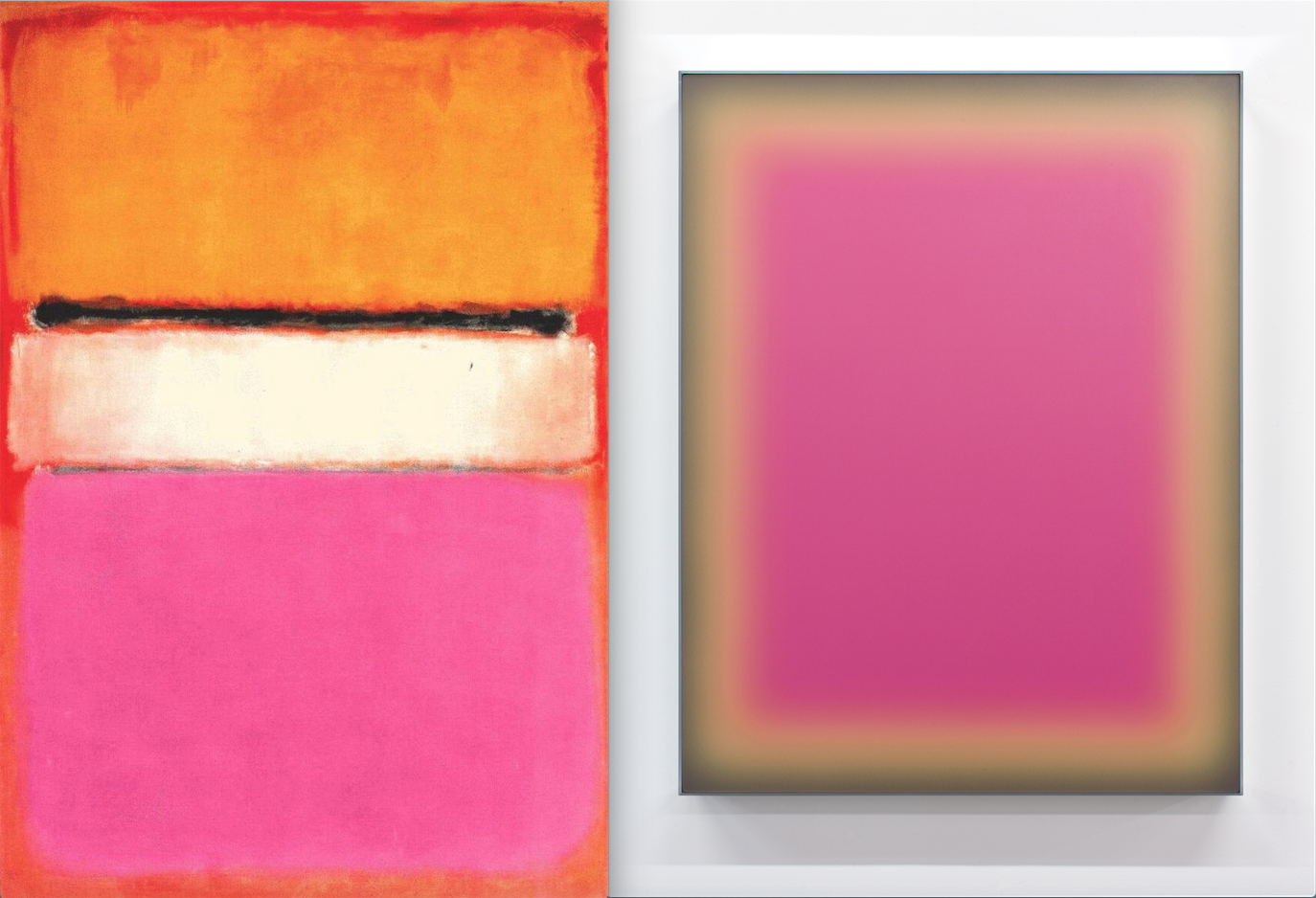 Mark Rothko, White Center, 1950, oil on canvas (left) and Jonny Niesche, 'Cosmetic calculator (Picture this Pink)', Voile and acrylic mirror. Image courtesy of Station Gallery and the artist.  Jonny Niesche is represented by Sarah Cottier Gallery.