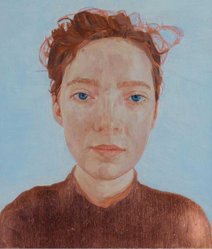Natasha Walsh, self-portrait, 2016, oil on copper.