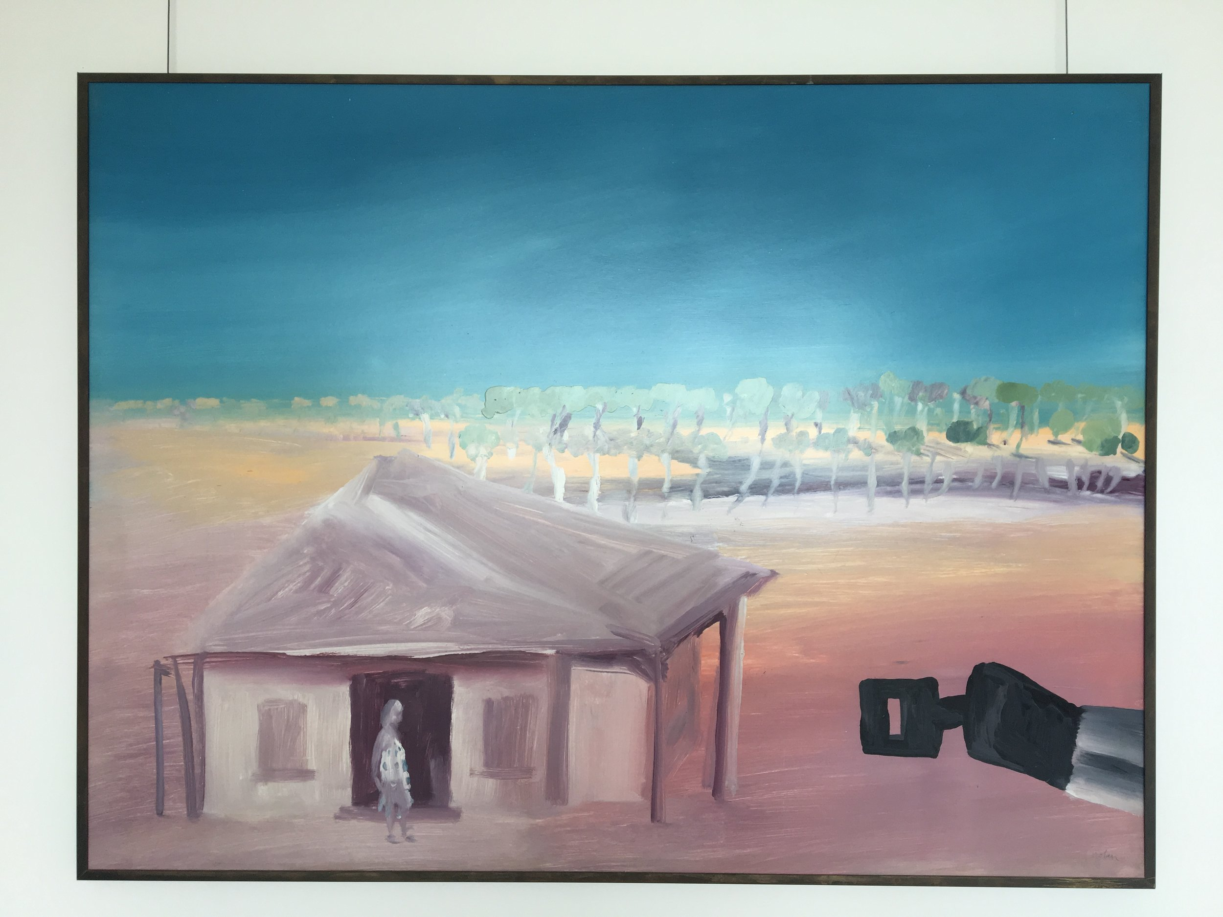 Sidney Nolan, Landscape with Ned Kelly, 1982, Ripolin enamel on composition board.