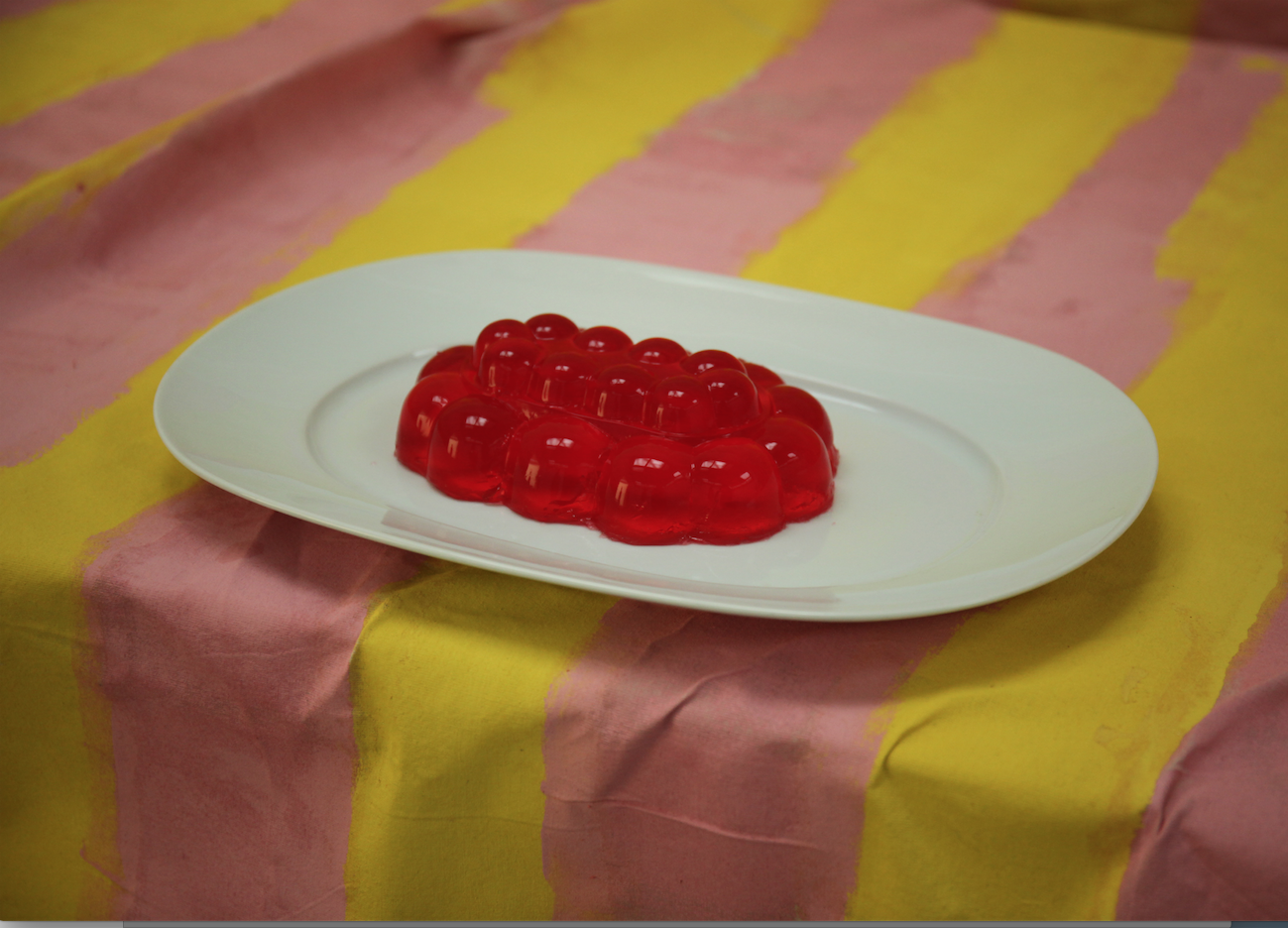 Madeleine Preston, Museum of Sugar - Work in progress, 2018, Hartley's jelly, ceramic plate, painted calico, dimensions variable