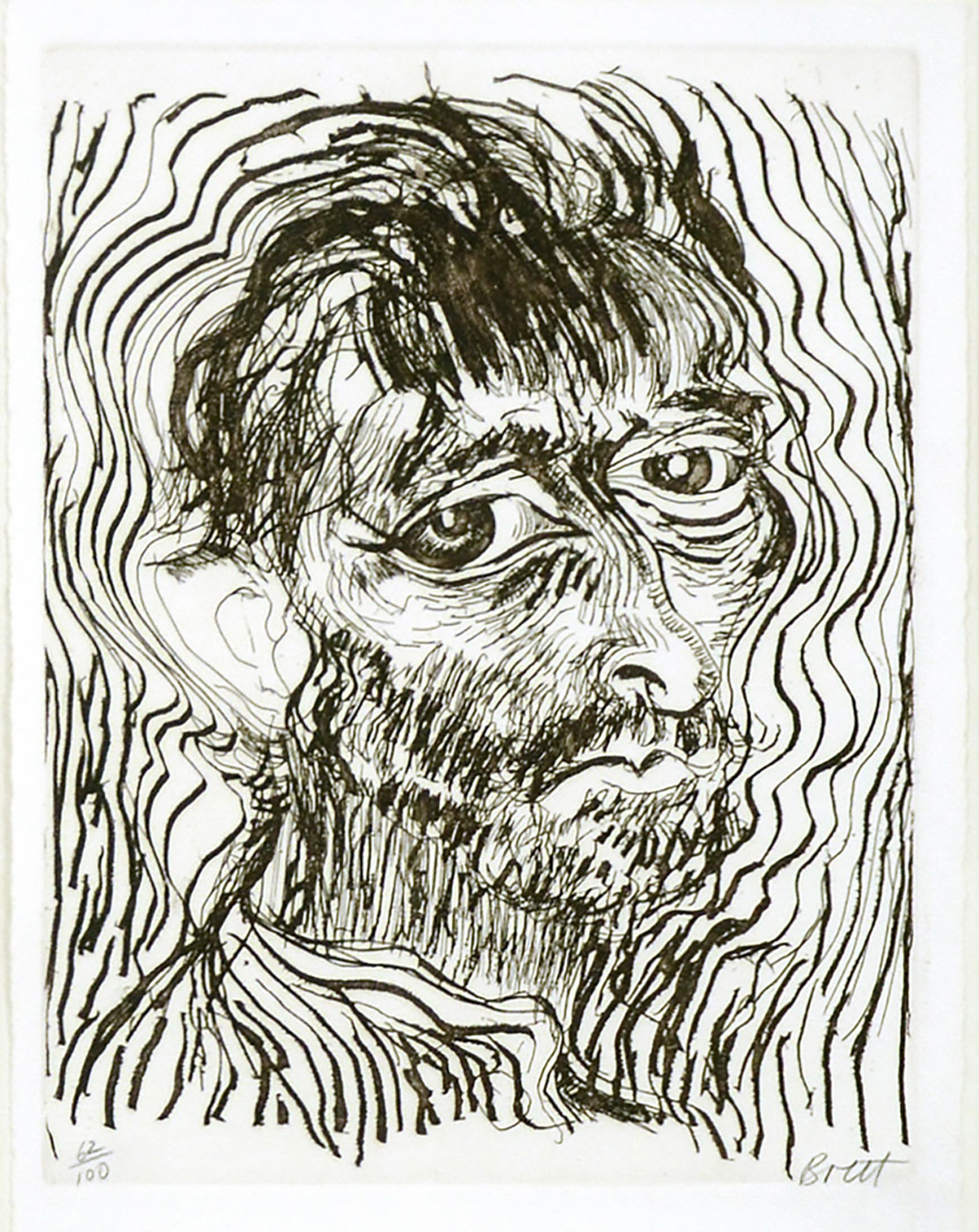 Brett Whiteley, Self Portrait, One of a Dozen Glimpses', 1983, etching and aquatint.