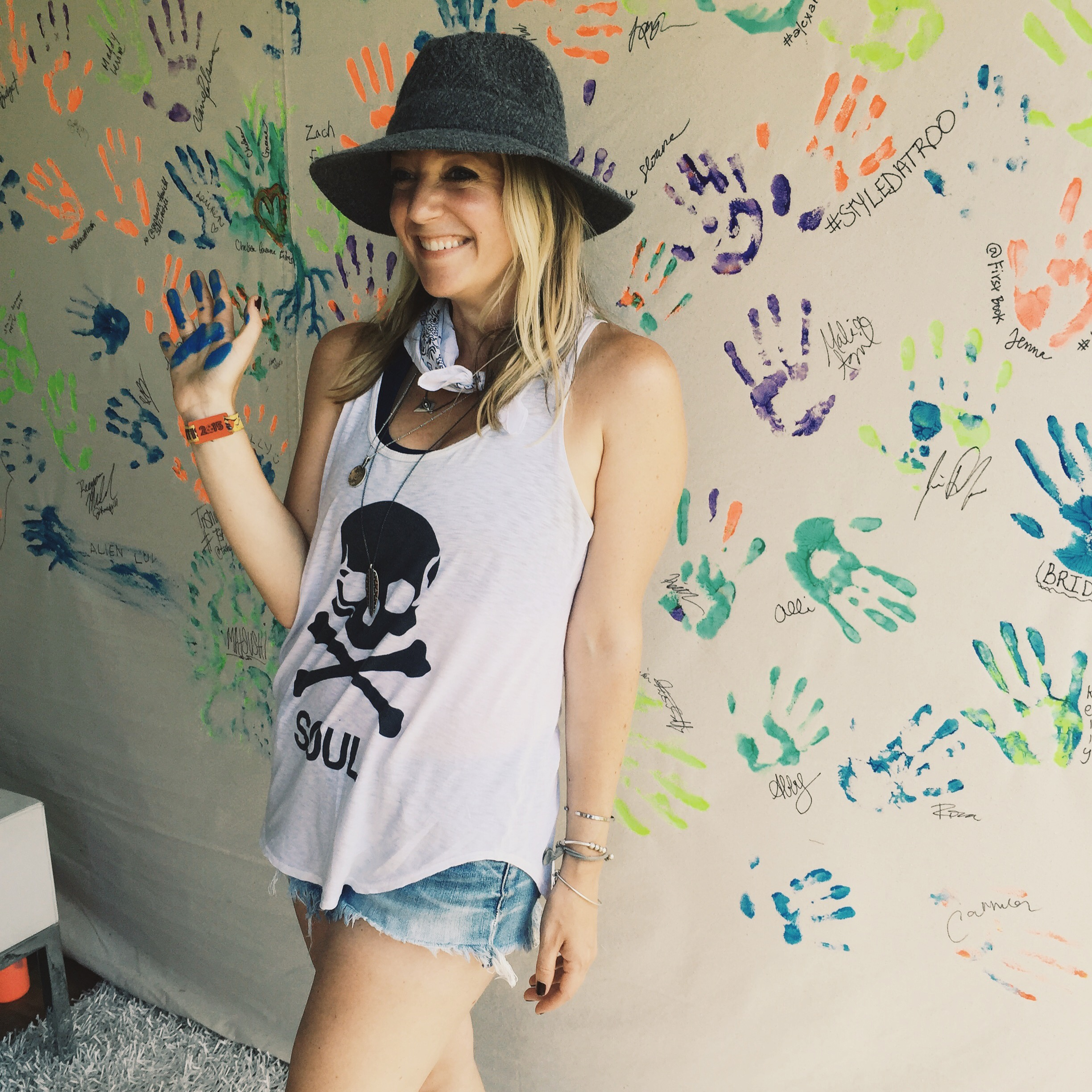 Kimberly making her mark for a cause backstage at Bonnaroo.