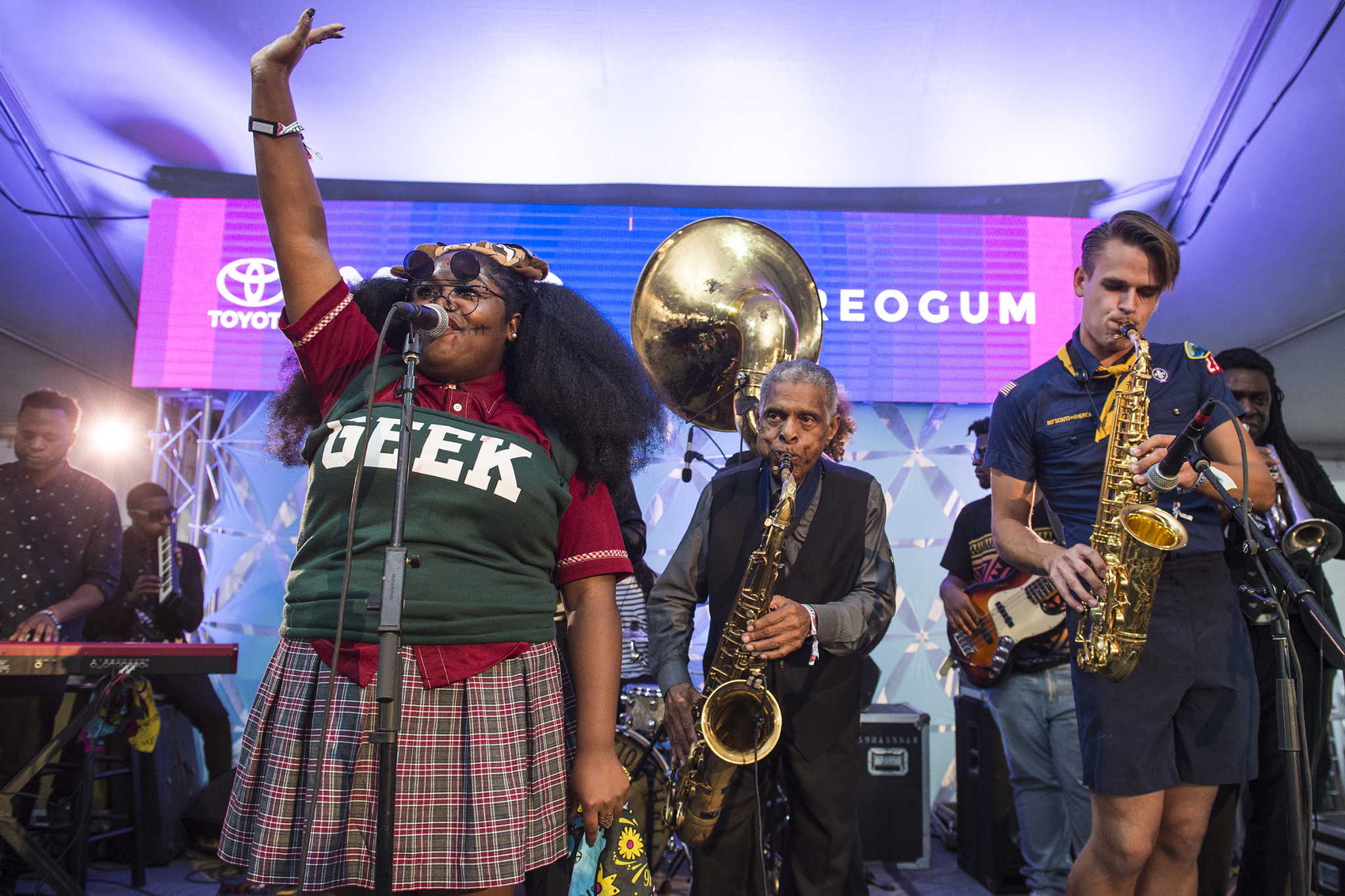 Tank and the Bangas perform with the Jazz Hall Preservation Band to close out the Voodoo Music + Arts Experience in the Toyota Music Den on Sunday, Oct. 30, 2016.