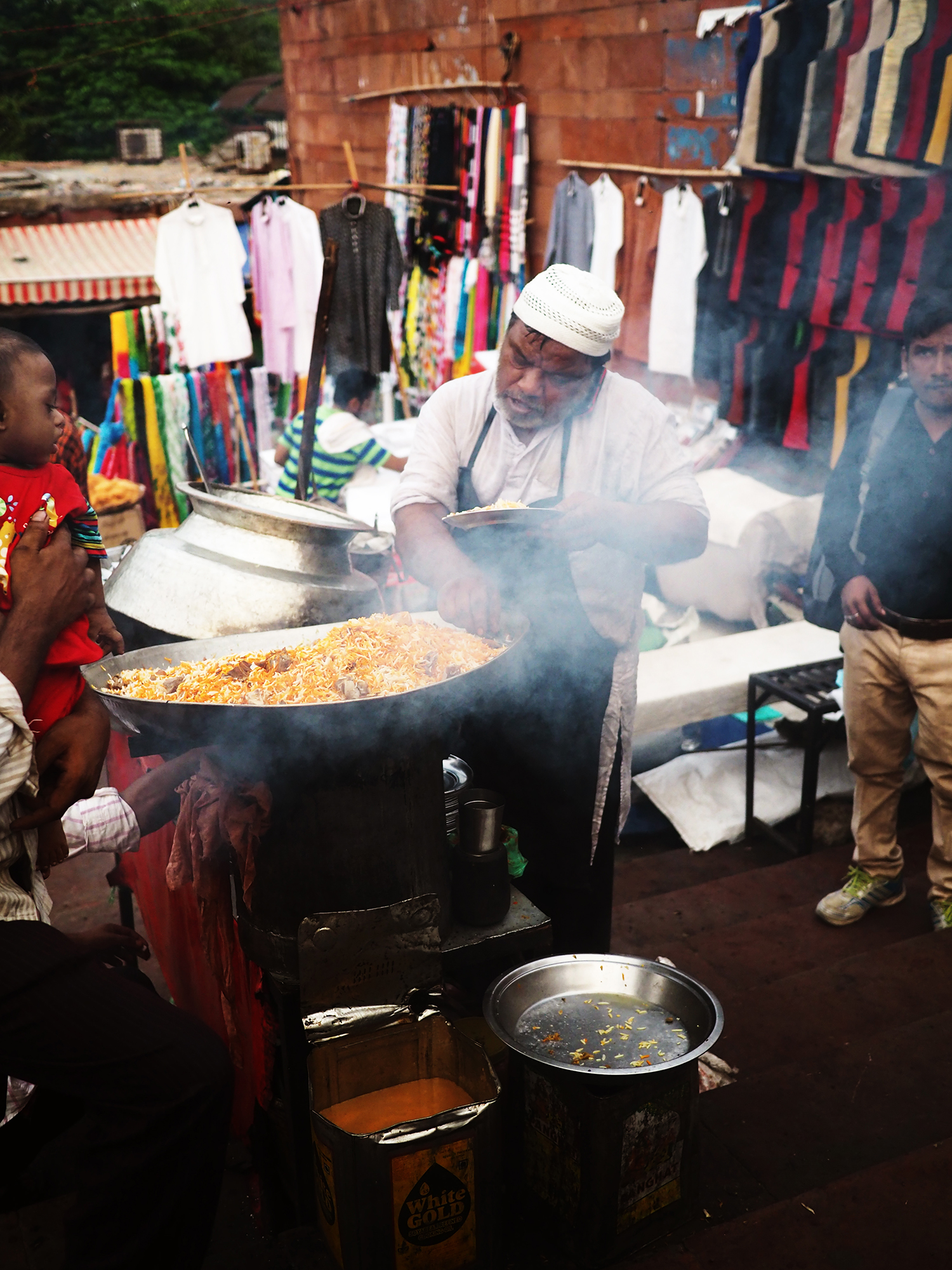 Hot biryani sold on the streets outside the Masjid.