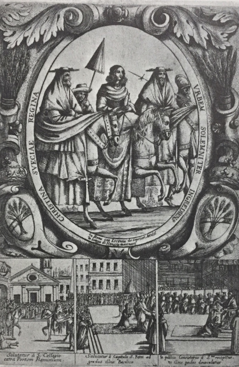 Christina rides into Rome, accompanied by cardinals. Etching, ca. 1668