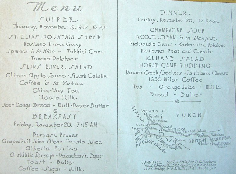 The menu for the Opening Ceremonies of the Alaskan Highway (1942), printed on a blueprinting machine