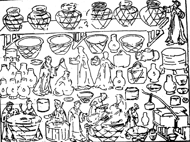 A kitchen scene from the east chamber in M1 Dahuting. Scholars suggest the bottom scenes show the art of making tofu. Courtesy of  Rudolf Pfister, Institute for the History of Afro-Eurasian Life Sciences