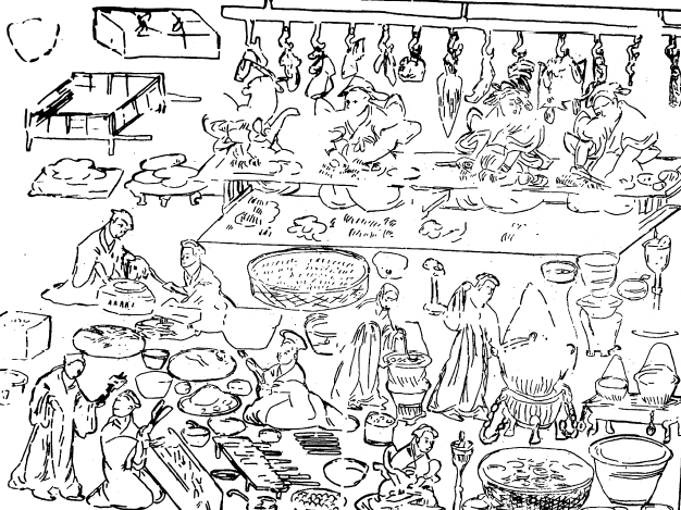 A drawing of the kitchen scene from the east chamber of the Dahuting tombs, complete with roasting meats and open fires.  Courtesy of   Rudolf Pfister, Institute for the History of Afro-Eurasian Life Sciences