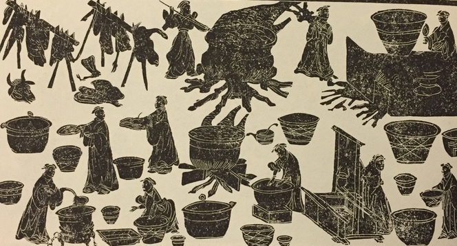 A kitchen scene from the stone reliefs at Dahuting. The man in the lower left hand corner is thought to be making  keng  or  geng , an early form of soups and stews.  Courtesy of K.C. Chang,   Food in Chinese Culture