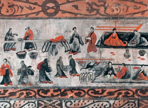 A banquet image from the Dahuting Tombs