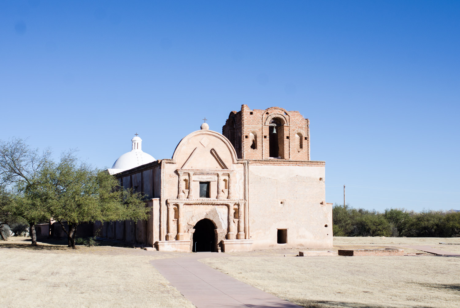The exterior of the mission church at Tumacácori; Photo by Mike Portt